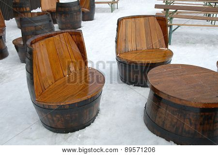 Wooden Unique Seats And Table