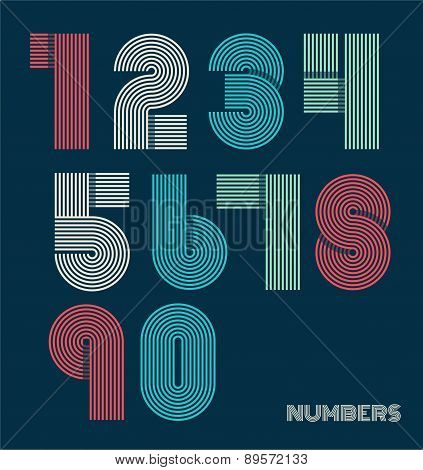 Retro Stripes Funky Numbers Set