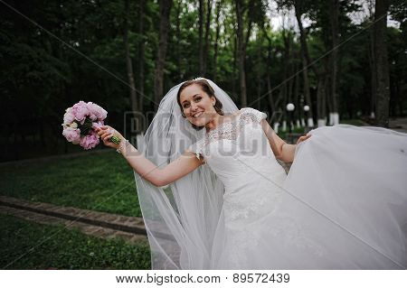 Happy Bride With Bouqet