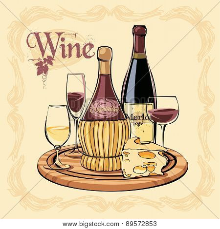 Vector Illustration Of Wine Bottles, Glasses And Cheese.