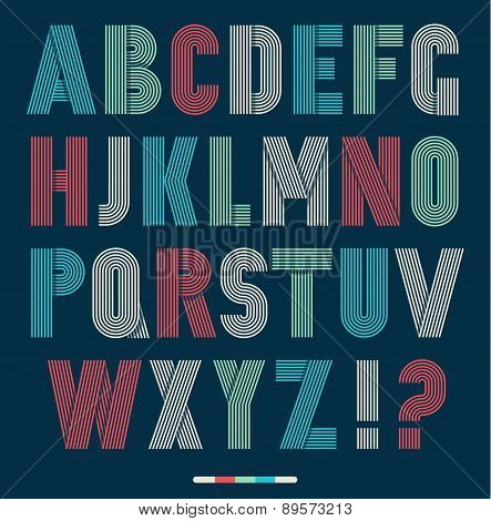 Retro Stripes Funky Fonts Set