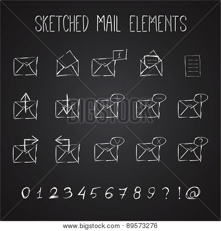 Sketched Mail Elements Set