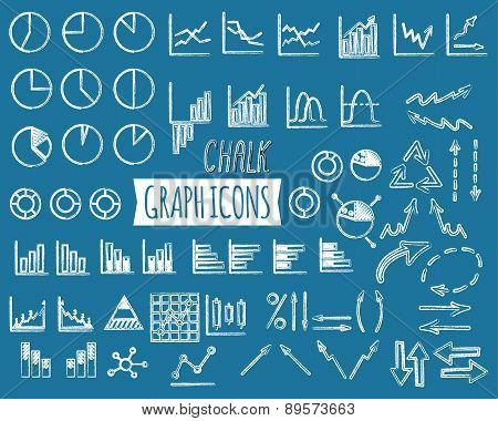 Business and office charts. Chal edition. Set of thin line graph icons. Outline. Can be used as elem
