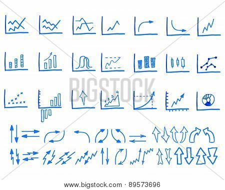 Set of doodle, sketched, hand drawn business management infographics elements, icons, arrows, charts