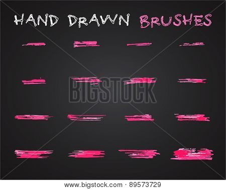 Set of pink hand drawn,doodle, sketched grunge brushes. Abstract ink, felt pen strokes for drawing a