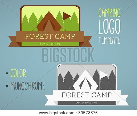 Vintage camping and outdoor activity logos. Vector logo templates and badges with forest, trees, fla