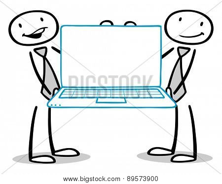 Two business people holding laptop computer with empty white screen