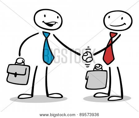 Two business people shaking hands after negotiating a deal