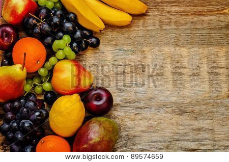 Mango, Lemon, Plum, Grape, Pear, Orange, Apple, Banana, Avocado