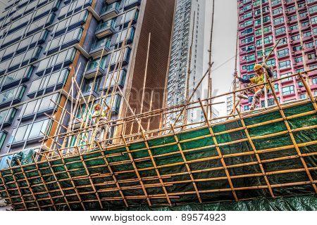 Building A Bamboo Scaffolding In Hong Kong
