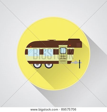 Rv Camping Icon Logo And Badge. Caravan Button In Flat Design With Long Shadow. Motorhome Lifestyle.