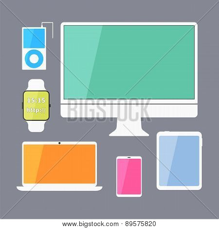 Modern Business Ui Devices Set - Display, Digital Tablet, Mobile Devices, Smart Watch, Music Player,
