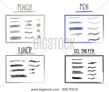 Set Of Hand Drawn Doodle Sketchy Grunge Gel Ink, Pen, Pencil, Liner Brush Lines. Unusual Design Elem
