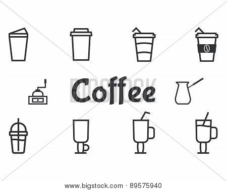 Coffee And Cocktails Outline Elements And Symbol Line Icon Isolated On White Background. Can Be Used