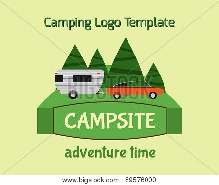 Adventure Tourism Travel Logo Vintage Labels Design Vector Templates. Rv, Forest Holiday Park, Carav
