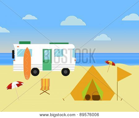 Vintage Camping Concept. Retro Caravan, Motorhome, Rv On The Beach, Summer Vacation, And Holiday. Fl