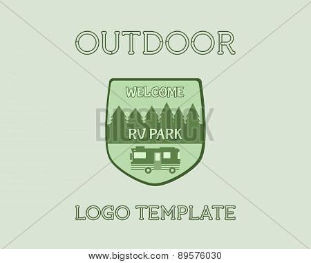 Adventure Outdoor Tourism Travel Logo Vintage Labels Design Vector Templates. Rv, Forest Holiday Par