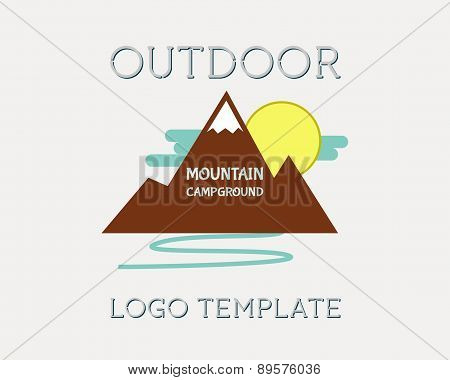 Mountain Campsite Campground Outdoor Adventure And Expedition Logo Badges Icon. Isolated On White Ba