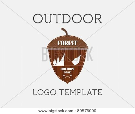 Mountain Campsite Campground Outdoor Adventure And Expedition Logo Badges Icon. Holiday Park. Unusua