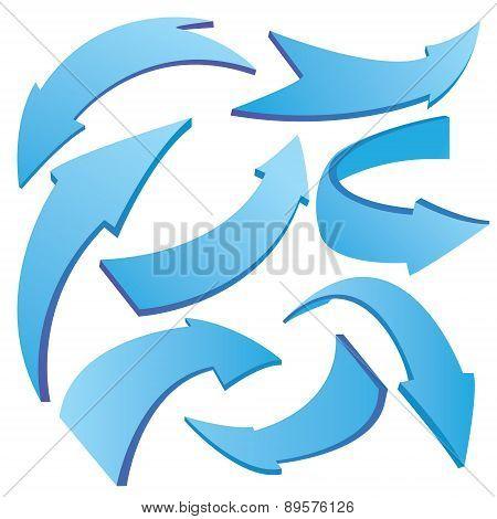Blue Curved 3D Arrows