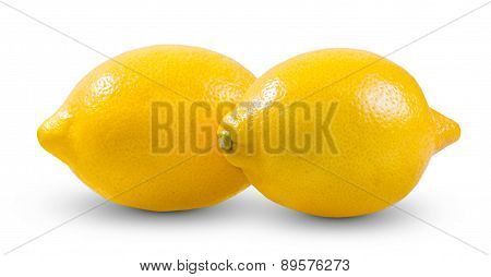 Fresh Yellow two Lime, Lemons rich witch vitamin C isolated on white bacground