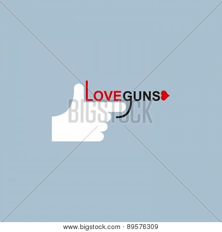 Love gun logo. hand and arms. Vector illustration