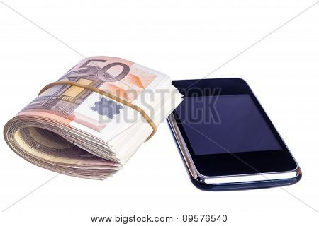 Mobile With Fifty Euro Notes