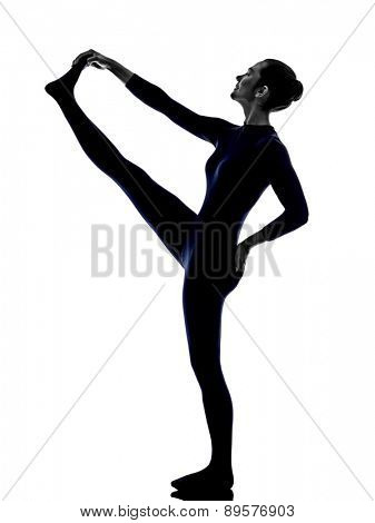 woman exercising Hasta Padangusthasana hand to big toe pose yoga silhouette shadow white background