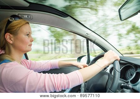 Profile Portrait Of Serious Calm Woman Carefullly Safe Driving Car