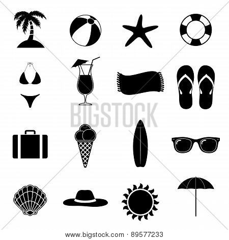Summer Beach Black Vector Illustration / Silhouette Icons / Beach Paradise / Vacation Set