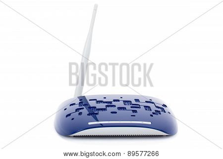 Blue Wifi Router On A White Background