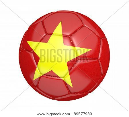 Soccer ball, or football, with the country flag of Vietnam
