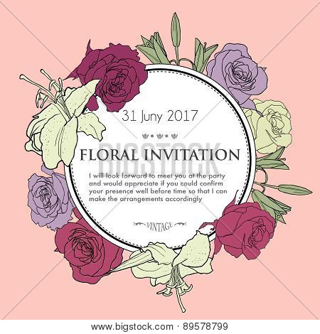 Romantic Floral Background For Wedding, Funeral, Birthday