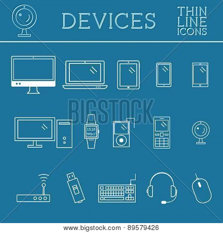 Trendy PC, computer, mobile gadgets and device line icons, mono vector symbols and elements of techn