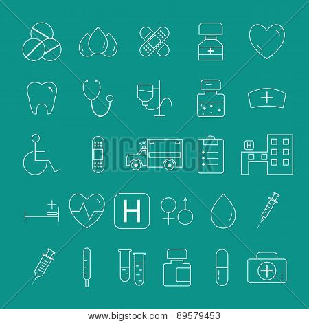 Outlined Medical Icons Set Collection. trendy thin line design. Easy to recolor and resize.