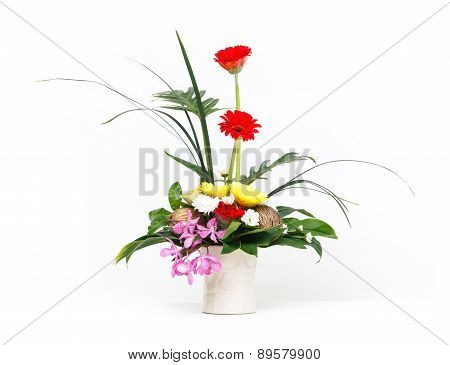 Flower Bouquet In Ceramic Pot