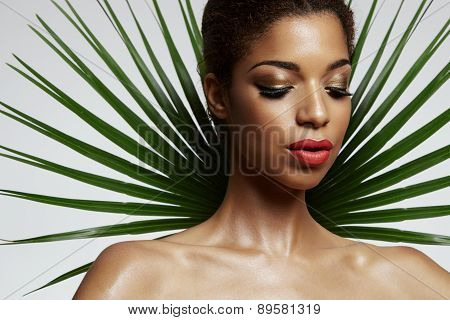 Pretty Afro Woman With A Palm Leave Backside