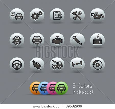 Car Service Icons. Pearly Series. It includes 5 color versions for each icon in different layers.
