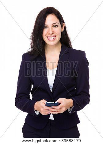 Caucasian businesswoman use of cellphone