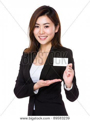 Asian businesswoman show with name card