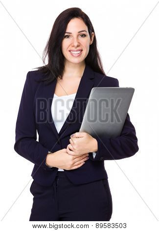 Caucasian businesswoman hold with laptop