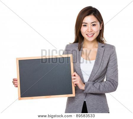 Businesswoman show with chalkboard