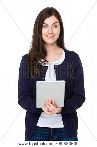 Caucasian woman use of tablet