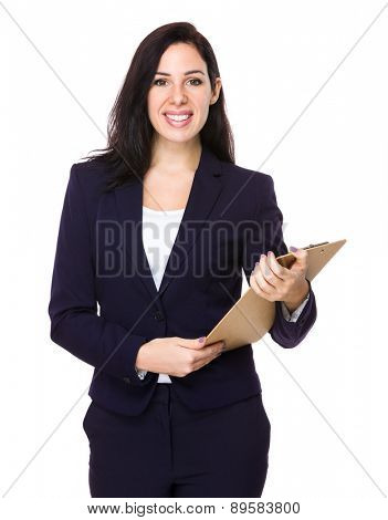 Caucasian businesswoman hold with clipboard