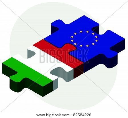 Italy And European Union Flags In Puzzle