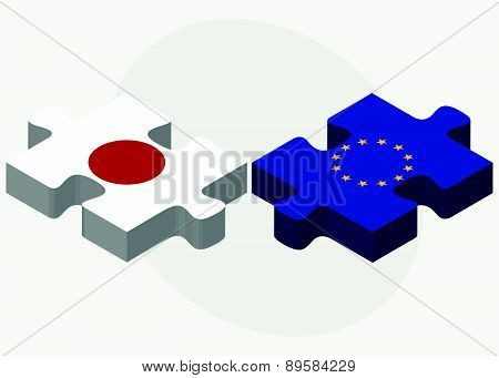 Japan And European Union Flags In Puzzle