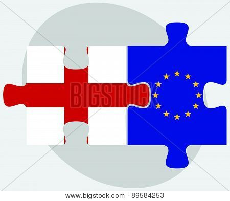 England And European Union Flags In Puzzle