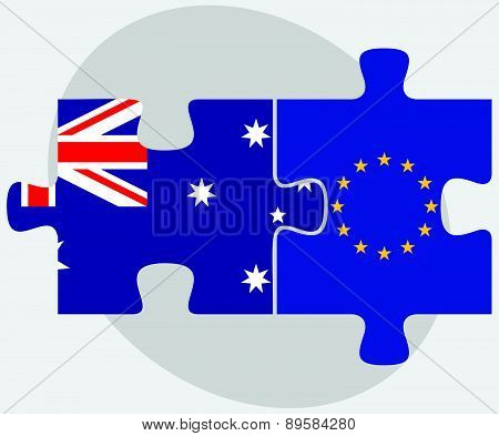 Australia And European Union Flags In Puzzle