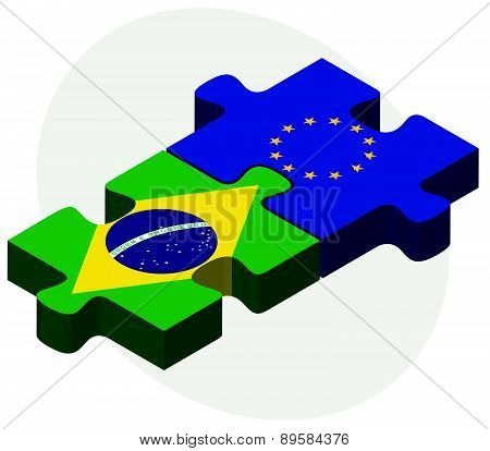 Brazil And European Union Flags In Puzzle