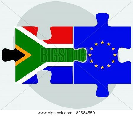 South Africa And European Union Flags In Puzzle